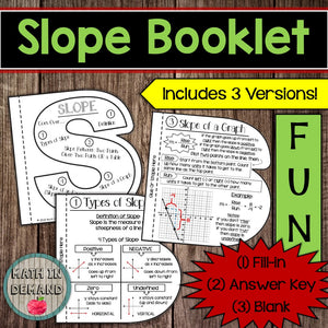Slope Booklet (Slope given two points, slope of an equation, slope of a graph)