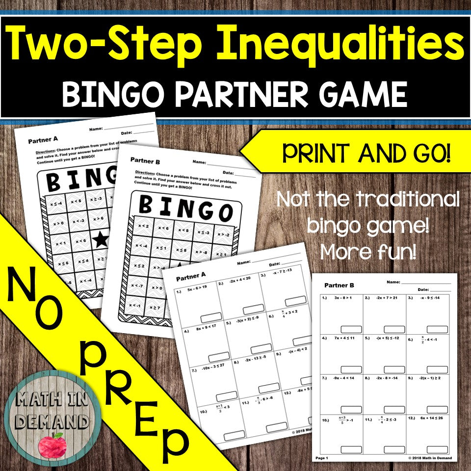 Two-Step Inequalities Bingo Partner Game