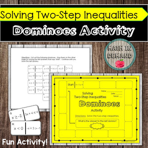 Solving Two-Step Inequalities Dominoes Activity