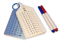 Times Tables Facts Flash Cards (Wipe Clean) with Key Chains, Charts, and Dry-Erase Markers