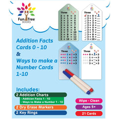 Wipe Clean - 2 Card Sets - Addition Facts Flash Cards 0-10 and Ways to Make a Number Cards 1-10, Key Rings, Markers and Bonus addition charts