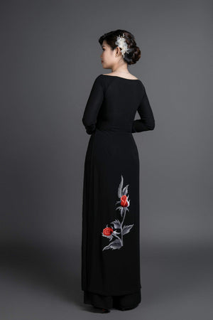 Ao dai, Vietnamese traditional dress. Black silk dress with stunning embroidered, rose motif.