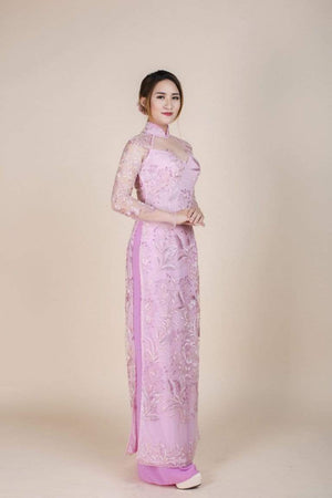 Pink, lace and chiffon ao dai