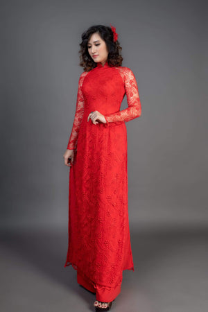 Red ao dai in lace and chiffon