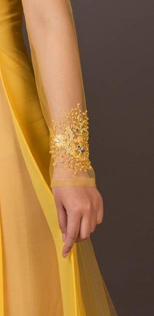 Yellow wedding ao dai. Beautiful embroidery and hand beading (includes headband as shown in photo)