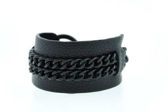DEX - Black on Black Leather Bracelet Cuff Mister Fairbanks Jewelry