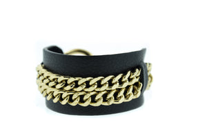 REI -Black Leather Cuff Bracelet Gold Mister Fairbanks