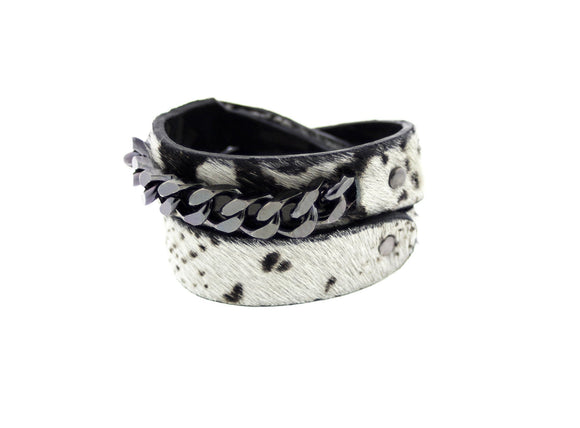 SALOME -Boa Print Leather Choker Bracelet Wrap Mister Fairbanks Jewelry