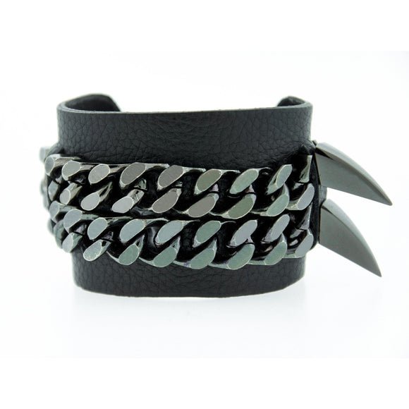 RYDER -Black Leather Gunmetal Spiked Mister Fairbanks Jewelry