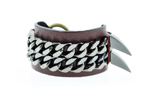 BLAKE - Burgundy Leather Cuff Bracelet Mister Fairbanks