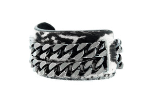 BO - Abstract Boa Print Leather Cuff Bracelet Gunmetal Mister Fairbanks