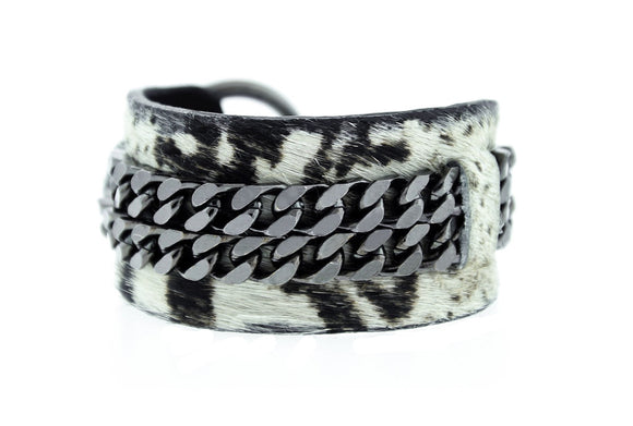 BO II - Boa Print Leather Cuff Bracelet Bangle Gunmetal Mister Fairbanks