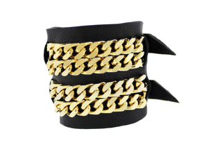 ZIV -Black Cuff Bracelet Bangle Gold Mister Fairbanks Jewelry