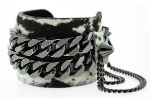MIAUCCIA -Boa Print Leather Cuff Bracelet Gunmetal Mister Fairbanks Jewelry