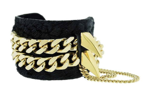 ZION -Black Python Cuff Bracelet Bangle Gold Stud Mister Fairbanks Jewelry