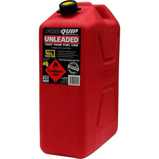 20 Litre Red Plastic Unleaded Fuel / Jerry Can with Pourer - 0950