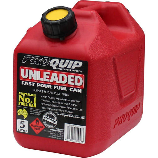5 Litre Red Plastic Unleaded Fuel / Jerry Can with Pourer - 0957