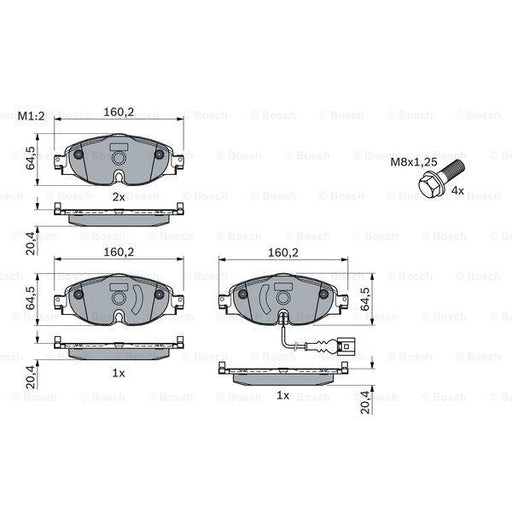Bosch Disc Brake Pad Set - Audi, Skoda, VW - BP1505