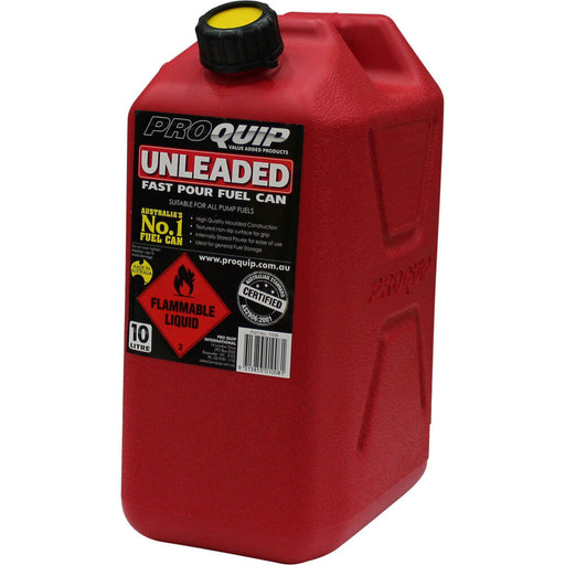 10 Litre Red Plastic Unleaded Fuel / Jerry Can with Pourer - 1008