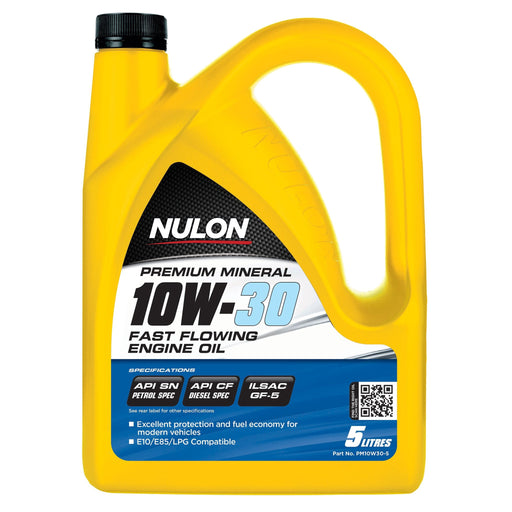 Nulon Premium Mineral 10W30 Fast Flowing Engine Oil - 5Ltr - A1 Autoparts Niddrie