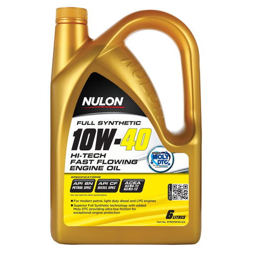 Nulon Full Synthetic 10W40 Hi-Tech Fast Flowing Engine Oil - 6Ltr - A1 Autoparts Niddrie