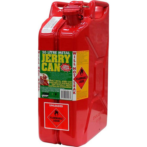20 Litre Red Metal Unleaded Fuel / Jerry Can - 1097