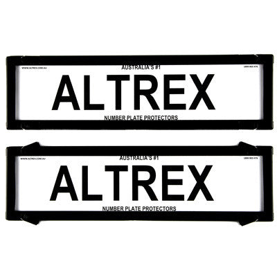 Ultimate 5000 Dual Slimline Black Number Plate Covers With Lines - Swing Clip - 6VSNL - A1 Autoparts Niddrie