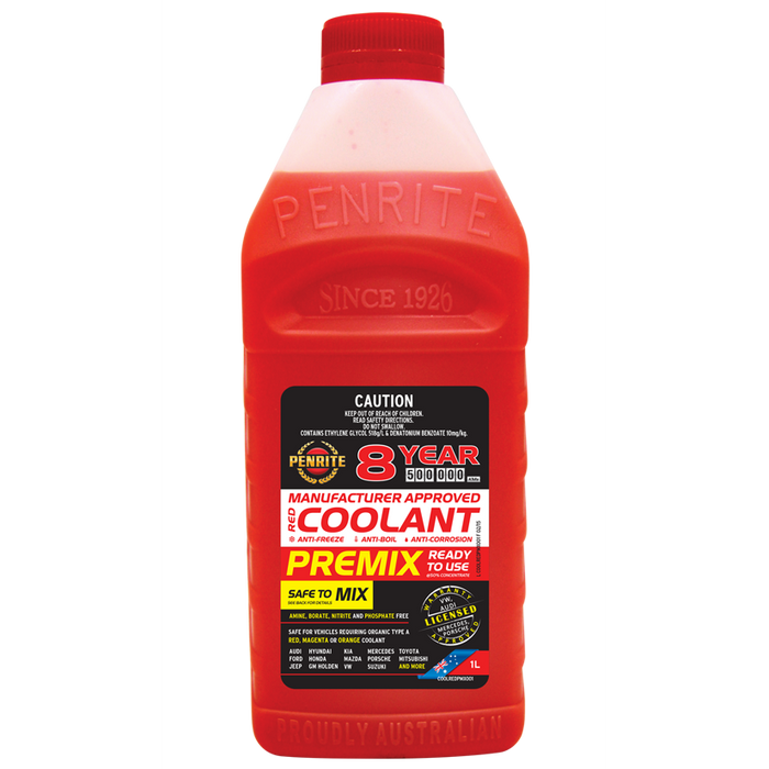 Penrite 8Yr Red Coolant Premix - 1Ltr - A1 Autoparts Niddrie