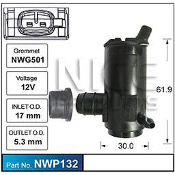 Nice Products Windscreen Washer Pump - NWP132 - A1 Autoparts Niddrie  - 1