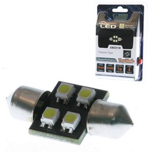 Aerpro 4 X SMD LED 28mm Festoon Globe - White - SMD91W - A1 Autoparts Niddrie