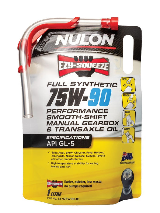 Nulon Full Synthetic 75W-90 Performance Smooth Shift Manual Gearbox and Transaxle Oil - 1 Litre