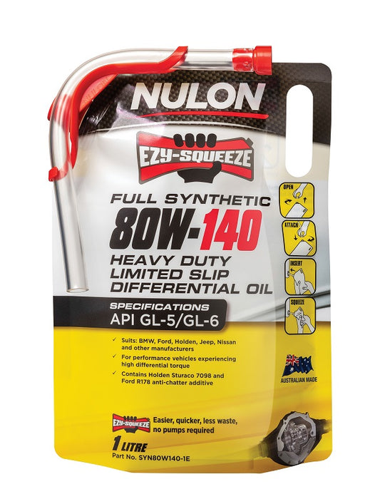 Nulon Full Synthetic 80W-140 Heavy Duty Limited Slip Differential Oil - 1 Litre