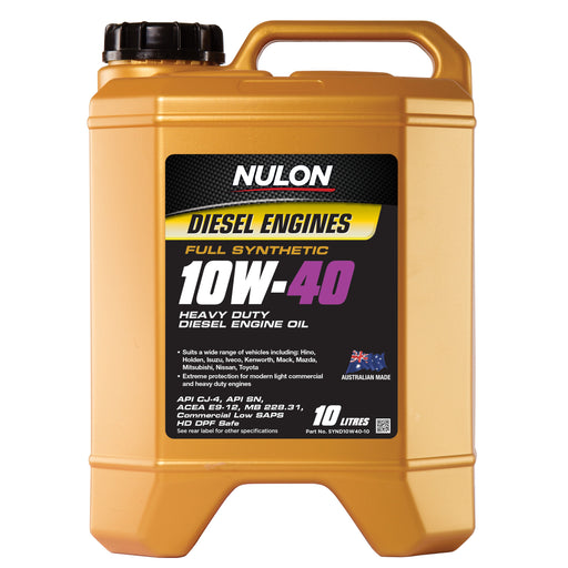 Nulon Full Synthetic 10W40 Heavy Duty Diesel Engine Oil - 10 Litre