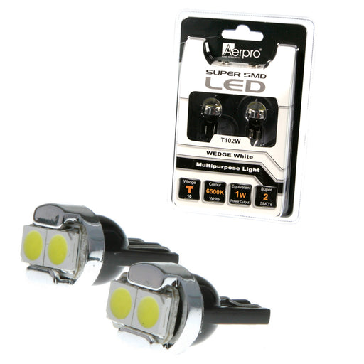 Aerpro 2 X SMD LED T10 Globe (Pair) - White - T102W - A1 Autoparts Niddrie