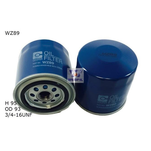Wesfil Oil Filter - WZ89A (Z89A)