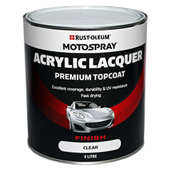 Motospray Acrylic Topcoat Clear - 4 Litre