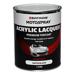 Motospray Acrylic Satin Black - 1 Litre