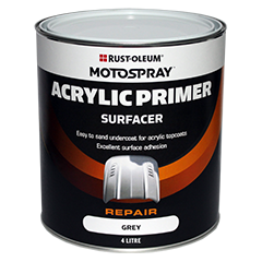 Motospray Acrylic Primer Surfacer (Grey) - 4 Litre