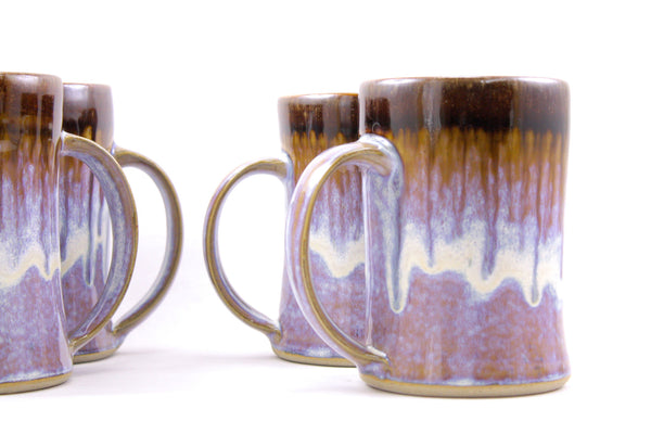 Pair of tankards in lavender glaze