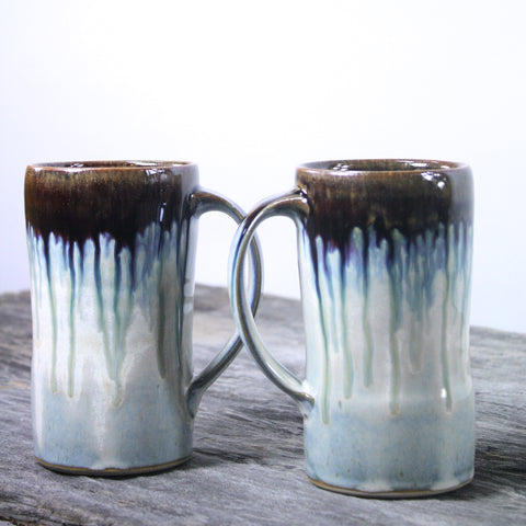 One of a kind tankards in light blue glaze