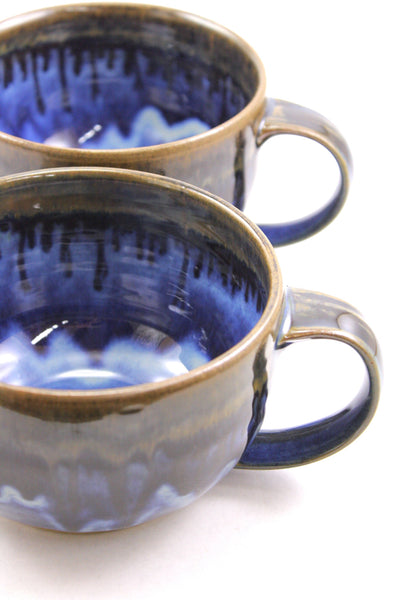 Pair of soup mugs in deep blue glaze