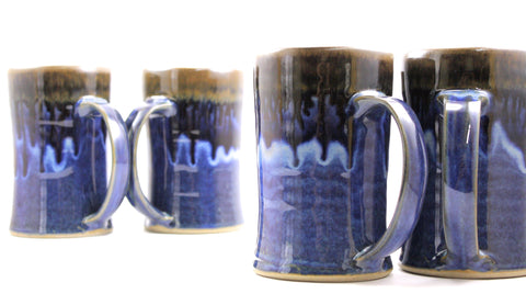 Pair of tankards deep blue glaze