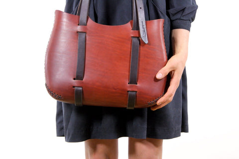 The Forest Tote in Cherrywood Red
