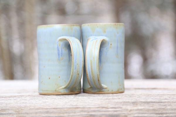 Pair of 14 oz. mugs in earthy blue glaze