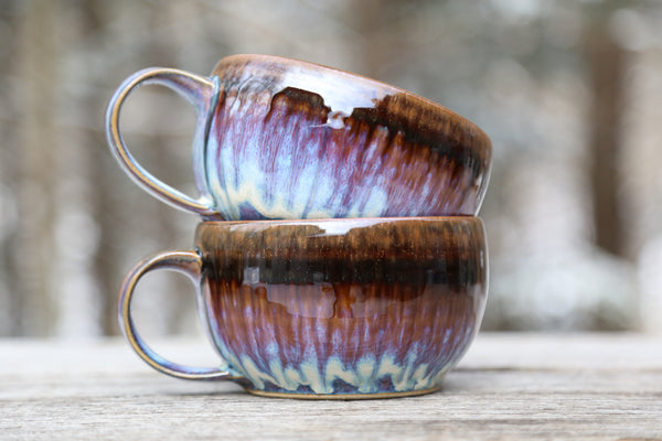 Pair of soup mugs in lavender glaze