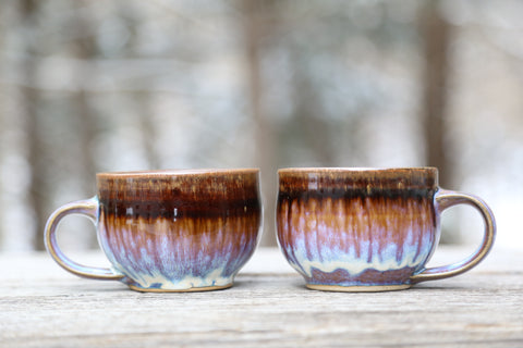 Pair of 10 oz. mugs in lavender glaze