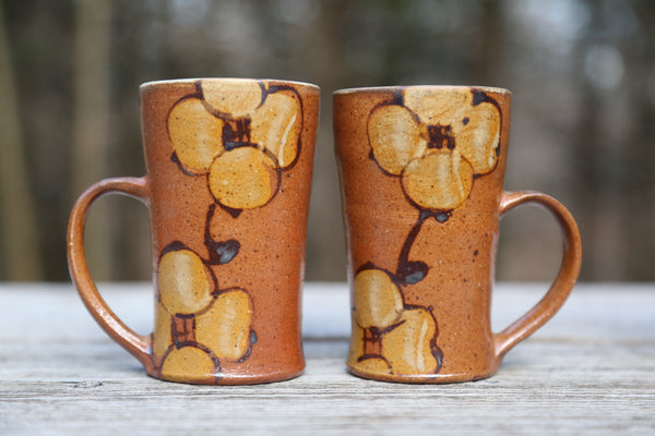 Pair of 7 oz. Wood Fired Mugs in Dogwood Flower Glaze