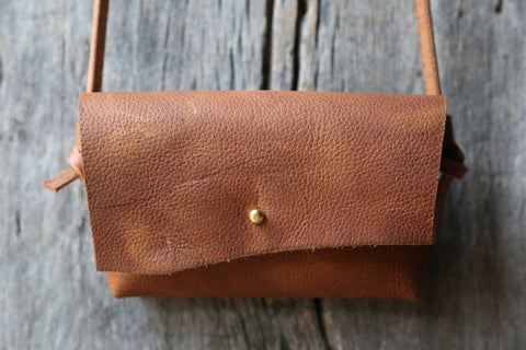 Soft honey brown crossbody clutch no.1