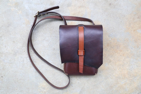 Chocolate Brown Natural Edge Crossbody Bag