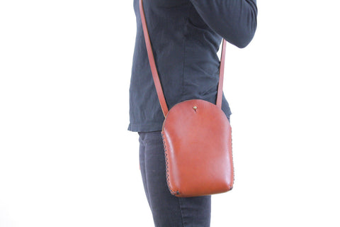 Minimalist Crossbody Bag in Cherrywood Red